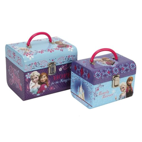 "Disney ""Frozen"" Set Of 2 Vanity Cases Trinket Toy Boxes illustrated with Anna and Elsa"